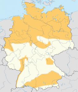Gebiete mit Schiefergaspotenzialen in Deutschland (in orange) (c) wikimedia / Maximilian Dörrbecker (Chumwa) - Eigenes Werk, using: this map of Germany by NNW Bundesanstalt für Geowissenschaften und Rohstoffe (Hrsg.)