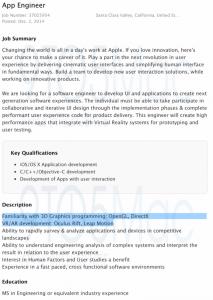 Die Stellenanzeige von Apple